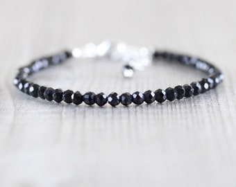 Black Spinel Dainty Bracelet. Sterling Silver, Rose, Gold Filled. Delicate Beaded Gemstone Jewelry. Slim Thin Stacking Bracelet for Women