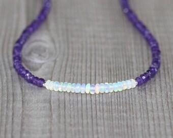 Ethiopian Welo Opal & Amethyst Necklace in Sterling Silver, Gold or Rose Gold Filled, Dainty Beaded Gemstone Choker, Boho Jewelry for Women