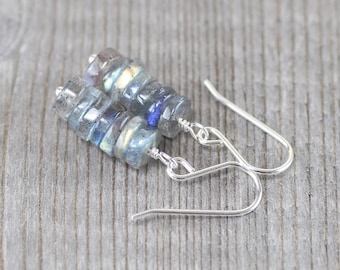 Labradorite Heishi Bead Earrings. Sterling Silver, Rose, Gold Filled. Blue Flash Gemstone Drop Earrings. Dainty Dangle Earrings for Women