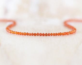 Carnelian Tiny Beaded Necklace in Sterling Silver, Gold or Rose Gold Filled, Dainty Orange Gemstone Choker, Long Layering Necklace for Women