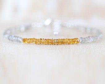 Citrine & Labradorite Dainty Bracelet. Sterling Silver, Rose, Gold Filled. Delicate Blue Flash Gemstone Skinny Stacking Bracelet for Women