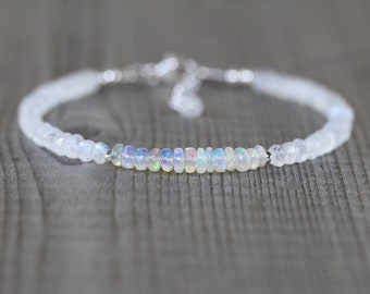 Ethiopian Welo Opal & Rainbow Moonstone Bracelet. Sterling Silver, Rose, Gold Filled. Blue Flash Gemstone Dainty Stacking Bracelet for Women