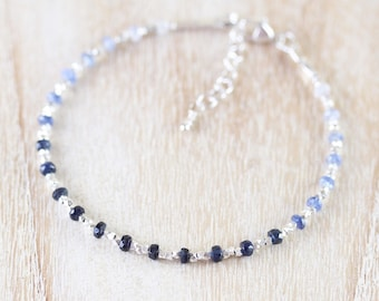 Sapphire, Sterling & Fine Silver Bracelet, Dainty Ombre Blue Gemstone Beaded Stacking Bracelet, Delicate Karen Hill Tribe Jewelry for Women
