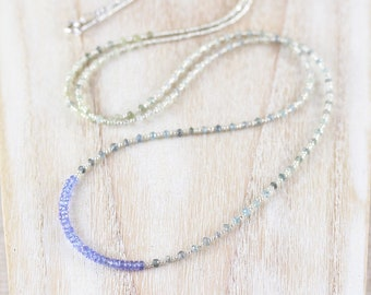 Tanzanite, Moss Aquamarine, Seed Bead & Sterling Silver Necklace. Long Layering Necklace. Dainty Gemstone Necklace. Boho Jewelry for Women