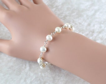 Natural Freshwater Pearl & Sterling Silver Bracelet. White Ivory Genuine Pearl Bracelet. Wire Wrapped Round Pearl Bracelet. Womans Jewellery