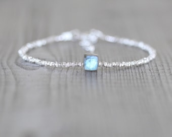 Labradorite, Sterling & Fine Silver Bracelet. Delicate Blue Flash AAA Gemstone Cube Bracelet. Dainty Tiny Square Beaded Bracelet For Women