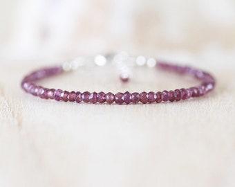 Rhodolite Garnet Dainty Bracelet. Sterling Silver, Rose, Gold Filled. Skinny Beaded Stacking Bracelet. Delicate Gemstone Jewelry for Women