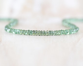Green Apatite Beaded Necklace, Sterling Silver, Gold or Rose Gold Filled, Dainty Gemstone Choker, Long Delicate Layering Necklace for Women