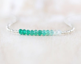 Emerald Green Onyx, Seed Bead & Sterling Silver Necklace. Delicate Ombre AAA Gemstone Choker. Dainty Tiny Beaded Layering Jewelry for Women