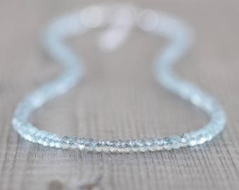 Aquamarine Beaded Necklace. Sterling Silver, Rose, Gold Filled. Dainty Light Blue Gemstone Choker. Long Delicate Layering Necklace for Women