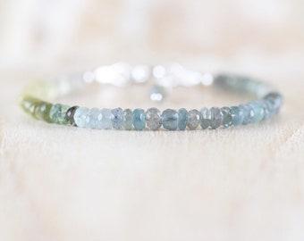Moss Aquamarine Dainty Bracelet. Sterling Silver, Rose, Gold Filled. Ombre Gemstone Rondelle Bracelet. Delicate Layering Jewelry for Women