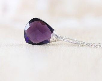 Amethyst Quartz & Sterling Silver Trillion Pendant. Wire Wrapped Necklace Charm for Women. Purple Gemstone Pendant. Artisan Jewelry Handmade
