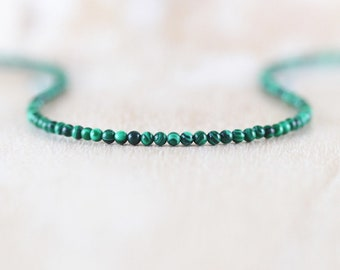 Malachite Delicate Beaded Necklace. Sterling Silver, Gold or Rose Gold Filled. Dainty Tiny Gemstone Choker. Long Layering Necklace for Women