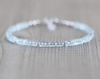 Delicate Aquamarine Beaded Bracelet. Sterling Silver, Rose, Gold Filled. Dainty Aqua Blue Gemstone Jewelry. Slim Stacking Bracelet for Women