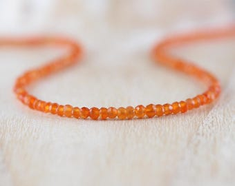 Carnelian Delicate Beaded Necklace. Sterling Silver, Rose Gold Filled. Dainty Orange AAA Gemstone Choker. Long Layering Necklace for Women