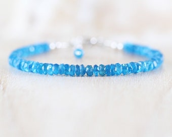 Neon Blue Apatite Beaded Bracelet in Sterling Silver, Gold or Rose Gold Filled. Dainty Gemstone Stacking Bracelet. Boho Jewelry for Women