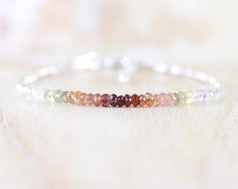 Ombre Spinel, Sterling & Fine Silver Bracelet. Autumn, Fall, Rustic Earthy Color Gemstone Bracelet. Dainty Delicate Beaded Jewelry for Women