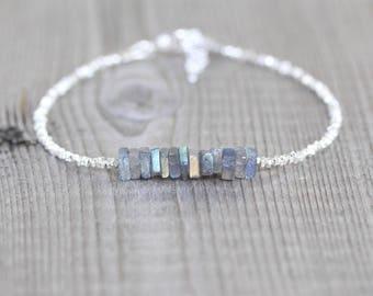 Labradorite, Sterling & Fine Silver Bracelet. Dainty Blue Flash Gemstone Heishi Bead Bracelet. Delicate Jewelry For Women. Karen Hill Tribe