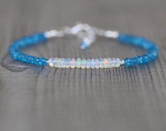 Blue Apatite & Ethiopian Welo Opal Bracelet. Sterling Silver, Rose, Gold Filled. Dainty Gemstone Stacking Bracelet. Beaded Jewelry for Women