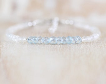 Sky Blue & White Topaz Bracelet. Sterling Silver, Rose, Gold Filled. Slim Thin Delicate Stacking Bracelet. Dainty Gemstone Jewelry for Women