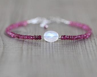 Pink Tourmaline & Rainbow Moonstone Bracelet. Sterling Silver, Rose, Gold Filled. Dainty Delicate Gemstone Slim Stacking Bracelet for Women
