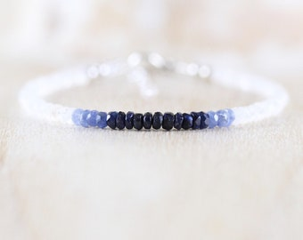 Sapphire & Rainbow Moonstone Dainty Bracelet in Sterling Silver, Gold or Rose Gold Filled. Ombre Blue Gemstone Stacking Bracelet for Women