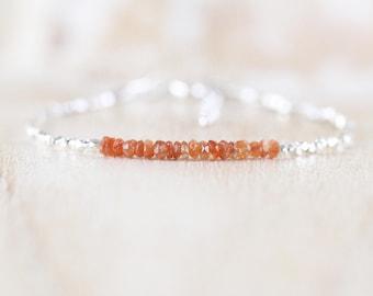 Sunstone, Sterling & Fine Silver Bracelet. Dainty Tiny Faceted Gemstone Bracelet. Thin Slim Stacking Bracelet. Delicate Jewelry For Woman
