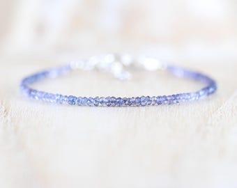 Iolite Delicate Beaded Bracelet. Sterling Silver, Rose, Gold Filled. AAA Gemstone Dainty Stacking Bracelet. Water Sapphire Jewelry for Women