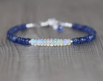Ethiopian Welo Opal & Kyanite Bracelet in Sterling Silver, Gold or Rose Gold Filled. Dainty Blue Gemstone Beaded Stacking Bracelet for Women