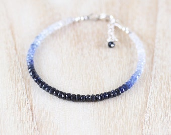 Natural Sapphire Dainty Bracelet. Sterling Silver, Rose, Gold Filled. Ombre Blue Gemstone Slim Stacking Bracelet. Delicate Jewelry for Women