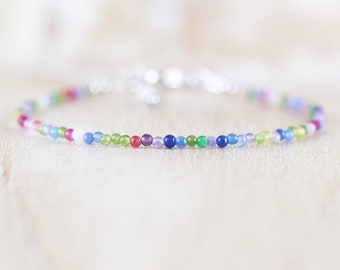 Multi Color Gemstone Dainty Bracelet in Sterling Silver, Gold or Rose Gold Filled, Tiny Beaded Stacking Bracelet, Delicate Jewelry for Women
