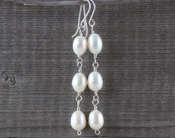 Natural Freshwater Rice Pearl & Sterling Silver Earrings. White Ivory Genuine Pearl Long Dangle Earrings. Womans Boho Wedding Bridal Jewelry