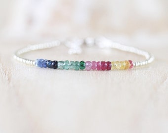 Sapphire, Emerald, Ruby, Miyuki Seed Bead & Sterling Silver Bracelet. Dainty Delicate Multi Color Gemstone Slim Stacking Bracelet for Women