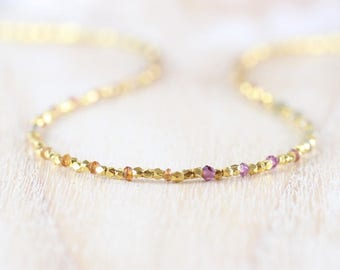 Tundra Sapphire, 14Kt Gold Filled & Vermeil Necklace. Dainty Multi Color Gemstone Beaded Choker. Long Delicate Layering Necklace for Women