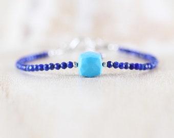Lapis Lazuli & Turquoise Bracelet. Sterling Silver, Rose, Gold Filled. Dainty Blue Gemstone Cube Bracelet. Womans Beaded Stacking Bracelet