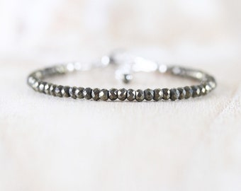 Pyrite Beaded Dainty Bracelet in Sterling Silver, Gold or Rose Gold Filled. Skinny Stacking bracelet. Delicate Gemstone Jewelry for Women