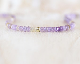 Ametrine Beaded Necklace in Sterling Silver, Gold or Rose Gold Filled, AAA Dainty Gemstone Choker, Long Delicate Layering Necklace for Women