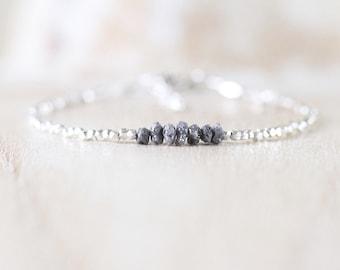 Rough Diamond, Sterling & Fine Silver Bracelet. Raw Gemstone Delicate Stack Bracelet. Dainty Tiny Beaded Jewelry for Women. Karen Hill Tribe