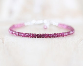 Pink Tourmaline Dainty Bracelet in Sterling Silver, Gold or Rose Gold Filled. Delicate Gemstone Stacking Bracelet. Beaded Jewelry for Women