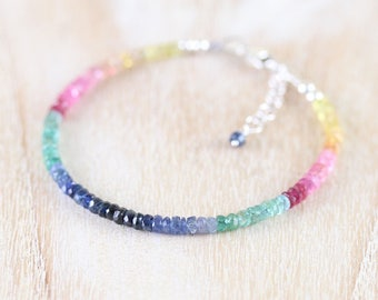 Sapphire, Emerald & Ruby Dainty Bracelet. Sterling Silver, Rose, Yellow Gold Filled. Multi Color Gemstone Slim Stacking Bracelet for Women