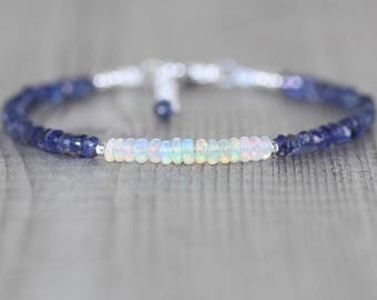 Ethiopian Welo Opal & Iolite Bracelet in Sterling Silver, Gold or Rose Gold Filled. Dainty Blue Gemstone Beaded Stacking Bracelet for Women
