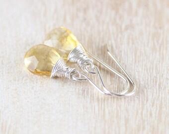 Citrine Earrings in Sterling Silver, Rose or Gold Filled. AAA Gemstone Drop Earrings. Wire Wrapped Dangle Earrings. Dainty Bead Earrings
