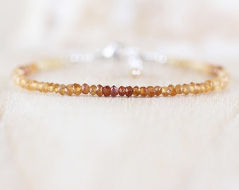 Hessonite Garnet Dainty Bracelet. Sterling Silver, Rose, Gold Filled. Slim Skinny Stacking Bracelet. Tiny Beaded Gemstone Jewelry for Women