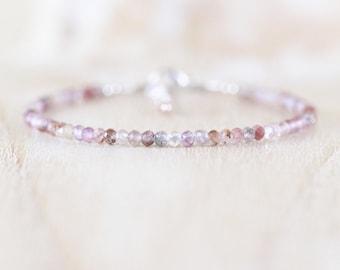 Auralite 23 Dainty Stacking Bracelet. Meditation Quartz Healing Gemstone. Sterling Silver, Rose, Gold Filled. Mindfulness Jewelry for Women