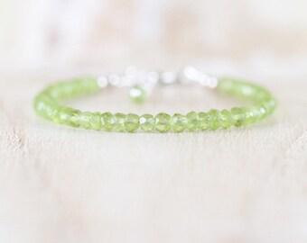 Peridot Dainty Bracelet in Sterling Silver, Gold or Rose Gold Filled. Slim Stacking Bracelet. AAA Delicate Beaded Gemstone Jewelry for Women