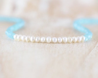 Freshwater Pearl & Aqua Chalcedony Necklace. Sterling Silver, Gold, Rose Gold Filled. Dainty Gemstone Choker. Long Beaded Layering Necklace