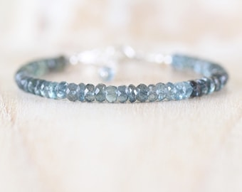 Moss Aquamarine Beaded Bracelet in Sterling Silver, Gold or Rose Gold Filled. Ombre Gemstone Chunky 5mm Faceted Rondelle Bracelet for Women