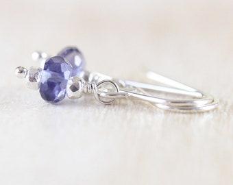Iolite Dainty Drop Earrings. Sterling Silver, Rose, Gold Filled. AAAA Water Sapphire Small Dangle Earrings. Blue Gemstone Jewelry for Women