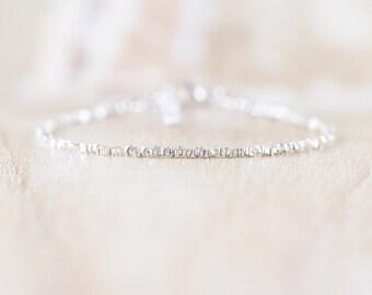Sterling & Fine Silver Dainty Bracelet. Thin Slim Skinny Stacking Bracelet. Delicate Heishi Square Bead Bracelet for Women. Karen Hill Tribe