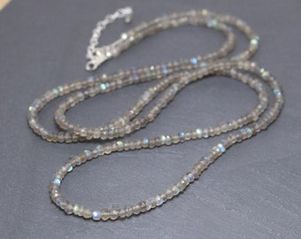 Labradorite Beaded Necklace in Sterling Silver, Gold or Rose Gold Filled. Custom Length Long or Choker with 4 to 4.5 mm Gemstone Beads